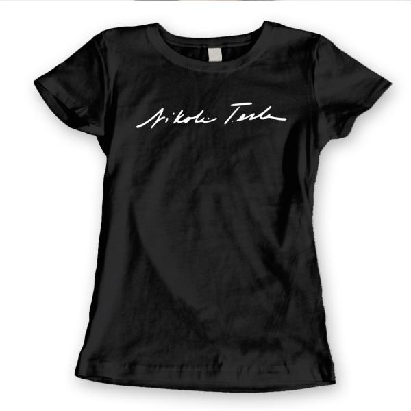 Signature Nicola Tesla Science  Geek  Math  Car Black Basic Women/'s T-Shirt