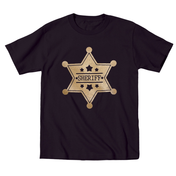 Gold Sheriff Badge  Funny Cute Outfit Police Kids Gift Black Toddler T-Shirt