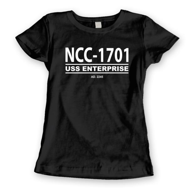 Ncc-1701  Star Trek Retro Ship Enterprise Geek Black Basic Women/'s T-Shirt